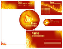 Fire flame. Vector set of business elements with fire background Royalty Free Stock Photography