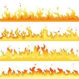 Fire Flame backdrop background set. Horizontal bonfire template for banner, web or brochure. Vector explosion decoration. Eps10 Stock Image