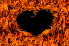 Fire flame background heart shape Stock Images