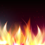 Fire flame banner. Realistic fire flames vector illustration. Special fire effect. Burn background Royalty Free Stock Photography