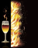 Fire flame banner with wineglass, vector. Illustration Royalty Free Stock Image