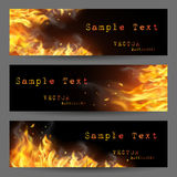 Fire Flame Banners Set. Fire flame horizontal banners set with sparks and places for text on black background isolated vector illustration Stock Images