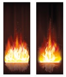 Fire flame banners. Vector illustration Stock Photos