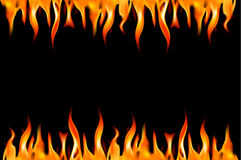 Fire flame on a black background. Vector illustratio Royalty Free Stock Photos