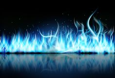 Fire flame blue on black background. Illustration of fire flame blue on black background Royalty Free Stock Image