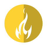 Fire flame bright danger icon yellow circle Royalty Free Stock Photos
