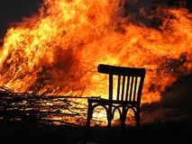Fire, Flame, Burn, Chair, Wood Fire Stock Photography