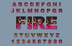 Fire flame burning fonts. Alphabet 80 s retro font. Fire flame burning fonts. Vector typography for flyers, posters. Fiery Effect shiny letters. 80s metallic vector illustration