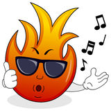 Fire Flame Character with Sunglasses. A cool cartoon fire flame character whistling with thumbs up and sunglasses, isolated on white background. Eps file Stock Photos