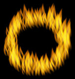 Fire Flame in Circular Frame  on Black Background Stock Images