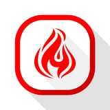 Fire icon, square button. Fire flame, colored icon with shadow on a rounded square button Royalty Free Stock Photos