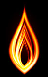 Fire flame on a dark background. Stock Photo