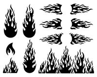 Fire flame design elements collection. Black vector fire flame design elements collection isolated Royalty Free Stock Image