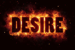 Fire flame with desire text on black background flames burn Royalty Free Stock Photo