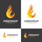 Fire flame drop logo. Fire flame icon in a shape of drop. Oil and gas industry logo design concept Stock Photo