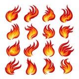Fire Flame Emblem Set. Colorful Fire flames set. Vector illustration Stock Photography