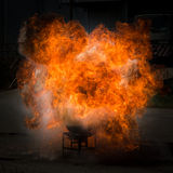 Fire flame explosion fighting practise Royalty Free Stock Image
