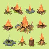 Fire flame or firewood outdoor travel bonfire vector fired flaming fireplace and flammable campfire illustration fiery. Or flamy forest set with wildfire Stock Images