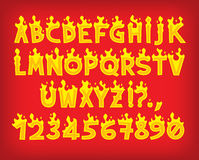 Fire flame font caps. Hot cartoon vector fire flame font caps Royalty Free Stock Photos