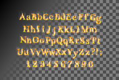 Fire flame font. Conceptual fire flame burning fire fonts, ideal for holiday, vintage or industrial designs. Vector font set, collection letters with smoke and Royalty Free Stock Images