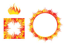Fire flame frames. Vector stylization of a bright flame with editable elements Royalty Free Stock Photography