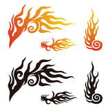 Fire and flame graphic elements. In color, black and white Stock Photography