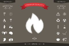 Fire, flame - halftone logo. Signs and symbols - graphic elements for your design Royalty Free Stock Photo