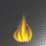 Fire flame hot burn vector icon warm danger and cooking yellow bonfire light blazing campfire. Fire flame hot burn vector icon warm danger and cooking yellow Stock Image