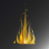 Fire flame hot burn vector icon warm danger and cooking yellow bonfire light blazing campfire. Fire flame hot burn vector icon warm danger and cooking yellow Stock Photography