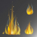 Fire flame hot burn vector icon warm danger and cooking yellow bonfire light blazing campfire. Fire flame hot burn vector icon warm danger and cooking yellow Royalty Free Stock Photos