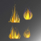 Fire flame hot burn vector icon warm danger and cooking yellow bonfire light blazing campfire. Fire flame hot burn vector icon warm danger and cooking yellow Stock Photos