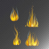 Fire flame hot burn vector icon warm danger and cooking yellow bonfire light blazing campfire. Fire flame hot burn vector icon warm danger and cooking yellow Royalty Free Stock Images
