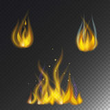 Fire flame hot burn vector icon warm danger and cooking yellow bonfire light blazing campfire. Fire flame hot burn vector icon warm danger and cooking yellow Royalty Free Stock Photography