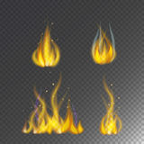 Fire flame hot burn vector icon warm danger and cooking yellow bonfire light blazing campfire. Fire flame hot burn vector icon warm danger and cooking yellow Royalty Free Stock Image