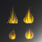 Fire flame hot burn vector icon warm danger and cooking yellow bonfire light blazing campfire. Fire flame hot burn vector icon warm danger and cooking yellow Stock Images