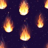 Fire flame hot burn vector seamless pattern background.  Royalty Free Stock Images