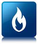 Fire flame icon blue square button. Fire flame icon isolated on blue square button reflected abstract illustration Royalty Free Stock Photos