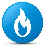 Fire flame icon cyan blue round button. Fire flame icon isolated on cyan blue round button abstract illustration Royalty Free Stock Photography