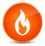 Fire flame icon elegant orange round button. Fire flame icon isolated on elegant orange round button abstract illustration Stock Images