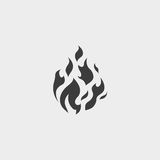 Fire flame icon in a flat design in black color. Vector illustration eps10 Royalty Free Stock Photos