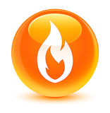 Fire flame icon glassy orange round button. Fire flame icon isolated on glassy orange round button abstract illustration Royalty Free Stock Image
