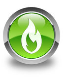 Fire flame icon glossy green round button. Fire flame icon isolated on glossy green round button abstract illustration Royalty Free Stock Image