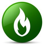 Fire flame icon green round button. Fire flame icon isolated on green round button abstract illustration Stock Photos