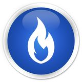 Fire flame icon premium blue round button. Fire flame icon isolated on premium blue round button abstract illustration Stock Images
