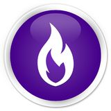 Fire flame icon premium purple round button. Fire flame icon isolated on premium purple round button abstract illustration Stock Photography