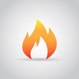 Fire flame icon in polygonal style on a gray background. Fire  flame icon in polygonal style on a gray background Stock Image