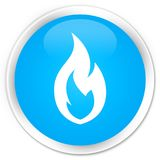 Fire flame icon premium cyan blue round button. Fire flame icon isolated on premium cyan blue round button abstract illustration Stock Image
