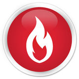 Fire flame icon premium red round button. Fire flame icon isolated on premium red round button abstract illustration Royalty Free Stock Images