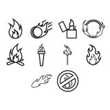 Fire and flame icon set Royalty Free Stock Photography