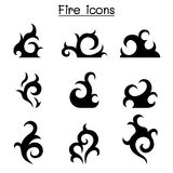 Fire, flame icon set. Vector illustration graphic design Royalty Free Stock Images